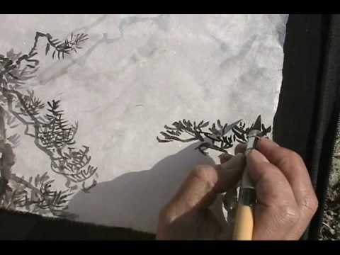 Painting Pine Trees on Snowy Mountain at Angeles National Forest with Henry Li (2)