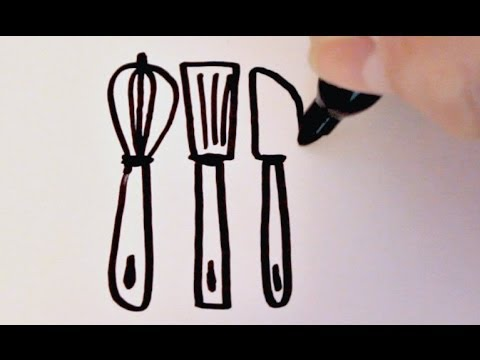 Kitchen Utensils Drawings How to Draw Cartoon Kitchen