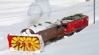 Awesome Powerful Snow Plow Train Blower Through Deep Snow railway tracks Full HD Compilation