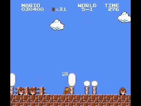 Super Mario Bros - How to go in the World 5 in the first warp zone in Super Mario Bros (NES) - User video
