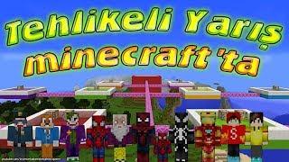 Minecraft'ta Tehlikeli Yarış Herkes Yarışıyor Örümcek Adam Şimşek McQueen Demir Adam