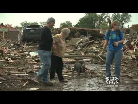Barbara Garcia and Bouncy the dog, Oklahoma tornado survivor.
