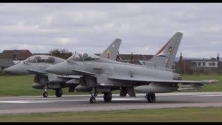 Two RAF Typhoons taking off from Warton Aerodrome