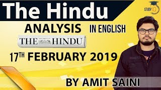 English 17 February 2019 - The Hindu Editorial News Paper Analysis [UPSC/SSC/IBPS] Current Affairs