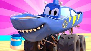 Monster Trucks for children - SHARK WEEK : The Artist | Monster Trucks Monster Town