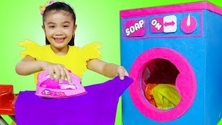 Hana Pretend Play Cleaning with Giant Cardboard Washing Machine Toy