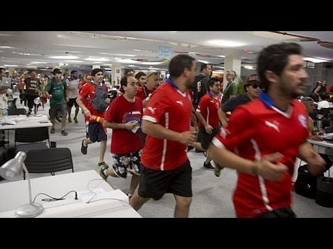 World Cup 2014 - Walls Collapse At Maracana As 100 Chile Fans Storm Media Centre