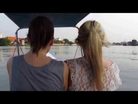 SCARED TO DEATH – young farang girls on long tailed boat – Chao Praya River , Bangkok Thailand 2013