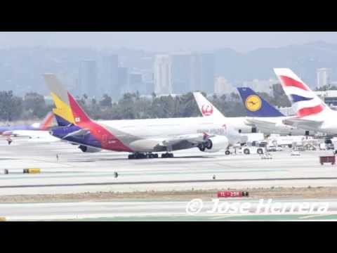 Plane Spotting at LAX Asiana A380 Landing & Departing