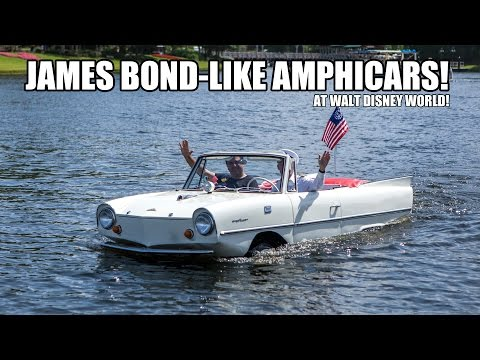 Riding the Amphicars at Downtown Disney Boathouse Orlando Florida