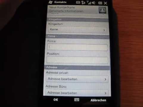 HTC HD2 - Bedienungsanleitung - Kontakte anlegen und bearbeiten www.handy-faq.de