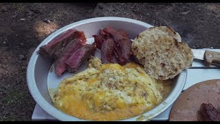 Steak & Eggs + Bacon! Cooked Over A Wood Fired Firebox Stove. Camping Food