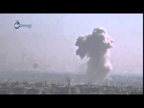Qasioun news : airstrikes on Saqba city in countryside of Damascus 12-2-2016