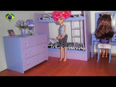 Como fazer cômoda de quarto para boneca Monster High. Barbie. Pullip e etc