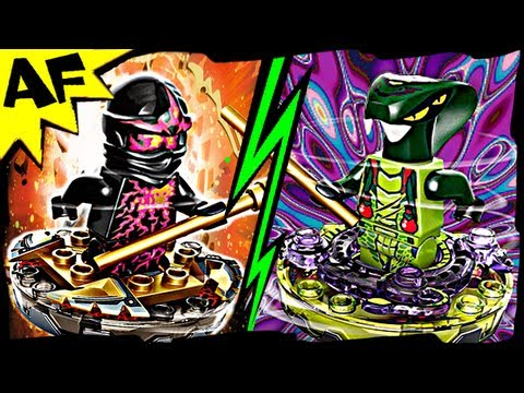 NRG COLE vs SPITTA Lego Ninjago Spinjitzu Battle & Stop Motion Review 9572 9569