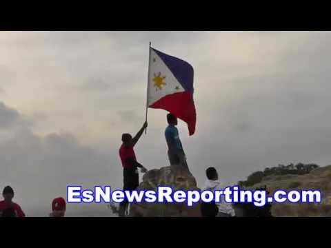 manny pacquiao vs floyd mayweather manny on top of world in camp - esnews