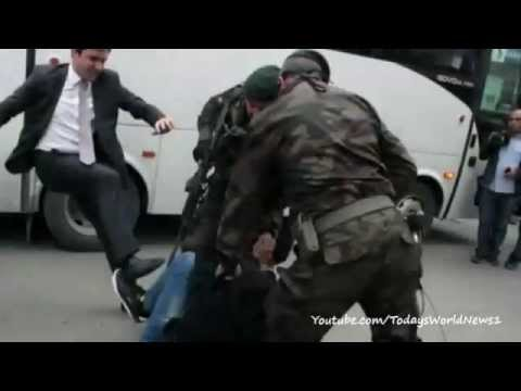 Protesters hit in Turkey PM mine visit