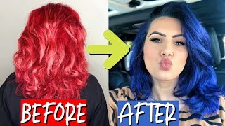 NEW HAIR: RED TO ROYAL BLUE HAIR TRANSFORMATION | BodmonZaid