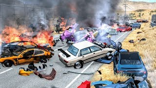 Massive Spike Strip Pileup Crashes #1 – BeamNG Drive | CrashBoomPunk