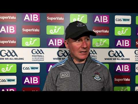 Jim Gavin reacts to Dublin's victory over Cork in the All-Ireland SFC Quarter-Final