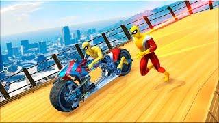 Moto Spider vs Speed Hero Mega Ramp Stunt Games - Gameplay Android game