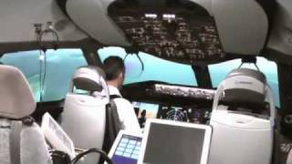 Demonstration of the Boeing 787 Dreamliner flight simulator