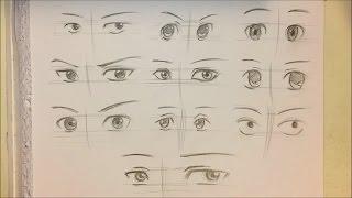 How to Draw Anime Boy Eyes [10 Ways] [No Timelapse]
