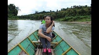 Daolika visits Tad sae waterfall luangprabang Laos