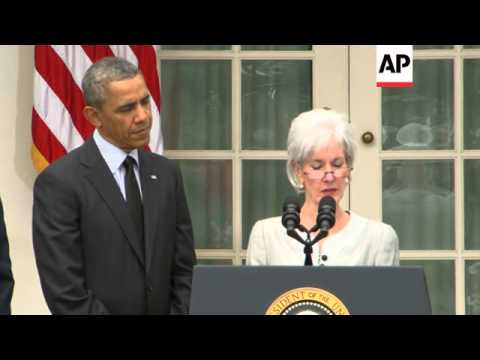 President Barack Obama praised outgoing Health and Human Services Secretary Kathleen Sebelius for he