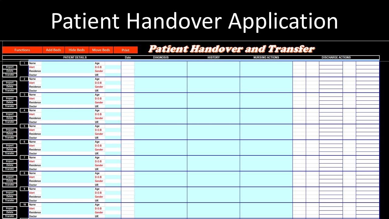 Patient Handover Application  U2013 Excel Vba