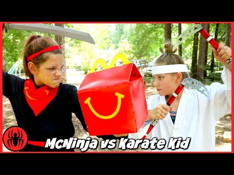 Ninja McNinja vs Karate Kid: 9 TRIALS OF FIRE McDonald's Happy Meal Hope and Annie SuperHero Kids