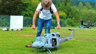GIANT RC BELL-212 ARMY HUEY SCALE MODEL VARIO ELECTRIC HELICOPTER FLIGHT DEMO FRANCIS PADUWAT
