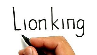 VERY EASY !, How to turn words LION KING into CARTOON for kids / how to draw lion king
