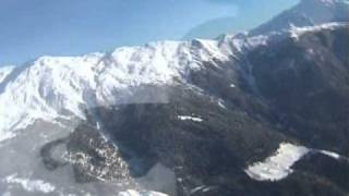 Helicopter flight in the mountains