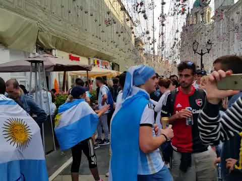 Football fans in Moscow