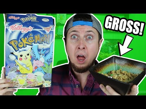 EATING A BOWL OF VINTAGE POKEMON CEREAL THAT'S 15 YEARS OLD! CHALLENGE