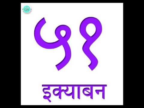 Learn Hindi : Numbers 51 to 60 (Hindi Numerals)