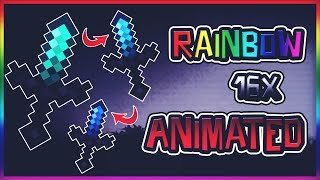 🌈MINECRAFT PVP TEXTURE PACK - RAINBOW 16X (ANIMATED)(FPS)🌈