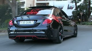 THE LOUDEST 2017 Mercedes C63S AMG w/ STRAIGHT PIPES in Monaco | CRAZY ACCELERATIONS + REVS + POLICE