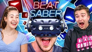 People Compete In A Beat Saber Challenge (VR180)