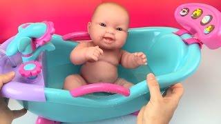 New Baby Dolls Bathtub Toy W/ Sounds & Shower How to Bath a Baby Doll Toyss