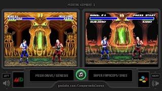 Mortal Kombat 3 (Sega Genesis vs Snes) Side by Side Comparison | Vc Decide