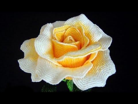 Плетение розы из бисера