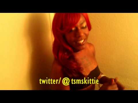 Sexy Black Tatted Up Redhair Tranny in Heels