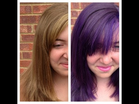 Natural Blonde to Purple Hair for a Temporary Shot of Colour.