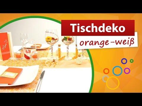 ♥ Tischdeko Orange Weiß ♥ Tischdekoration - Trendmarkt24