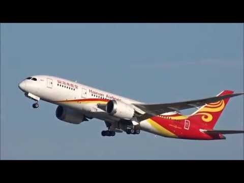 Hainan Airlines 787-8 departure from Boston
