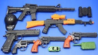 Toys Guns Toys for Kids ! Box Of Toys with Realistic Police Military Toy Guns Equipment Black AK 47
