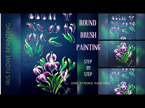 How to paint Iris Flower using Round Brush | Step by Step  | Quick and Easy Painting