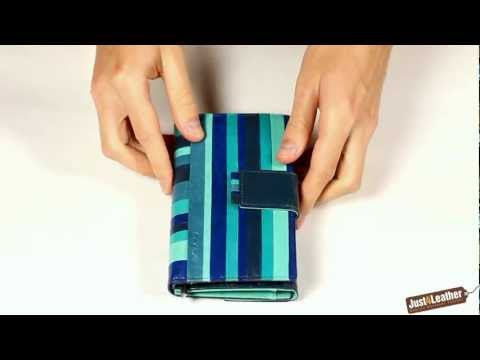 Lecerf Ladies Leather Purse Wallet   Blue Striped Design